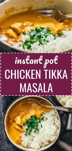 This homemade Instant Pot Chicken Tikka Masala recipe is an authentic chicken curry dinner made in the pressure cooker. The restaurant style sauce is the best - creamy & spicy with garam masala. It's a tasty Indian food recipe that's easy, fast, quick, & Chicken Tikka Masala Rezept, Poulet Tikka Masala, Pollo Tikka, Tandoori Masala, Garam Masala Chicken, Tikka Masala Recipes, Chicken Tika Masala Recipe, Slow Cooker Tikka Masala, Tikka Masala Sauce