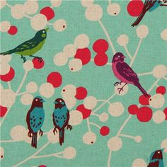 modes4u  turquoise echino birds and berries canvas fabric cherry 1