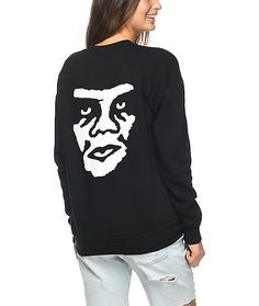Obey The Creeper Black Crew Neck Sweatshirt