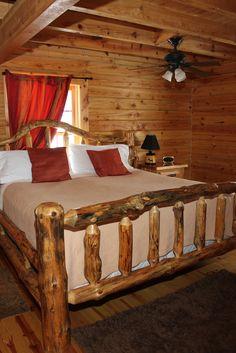 King Bed at Oak Valley.  valleyviewcabins.com #HockingHills #LogCabin