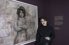 Helena Bonham Carter with a painting of her. that's pretty awesome :)