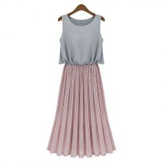 Scoop Neck Pleated Sleeveless Chiffon Long Dresses For Women