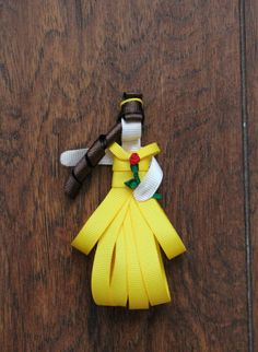 Belle Beauty and the Beast Princess w/ Rose Inspired Hair Clip by KidHearted on Etsy, $5.00