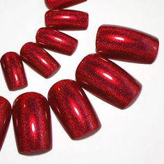 Full-False-Nails-Red-Holographic-Press-On-Nails-Hand-Painted-Christmas-Nails