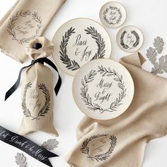 Maybelle Calligraphy Linen Wine Bags, Set of 3 | Mark and Graham