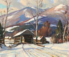 """Over the Covered Bridge,"" Aldro Thompson Hibbard, oil on canvas, 25 x 30""…"