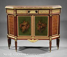 Louis XVI-Style Gilt Bronze-Mounted Purplewood, Parquetry and Vernis Martin Commode, late 19th/early 20th c., Victor Raulin, Paris