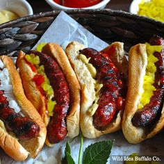 Wild Idea Buffalo - 1 lb. Premium Buffalo Hot Dogs We hit our new Hot Dog Recipe right out of the park!  Wild Idea Buffalo's NEW casing-free Hot Dogs are incredible – one bite and you'll be hooked!  Wild Idea's 100% Nitrite Free Premium Buffalo Franks are made from our 100% grass-fed buffalo -- no filler, no junk, just mouth watering flavor in every bite.  Kids love them and adults do, too.