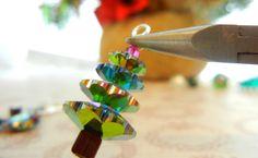 Twelve Days of Christmas Jewelry Designs: 1 - Swarovski Crystal Tree Earrings