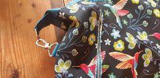 Sac Java en toile colibris et simili bleu cousu par Céline - Patron Sacôtin