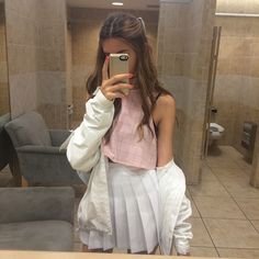 SO CUTE. pink AA crop top + white AA tennis skirt + chunky cream/white/light colored cardigan