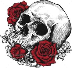 Human Skull with Roses on White Background Skull Human Roses Background # Skull Rose Tattoos, Skull Hand Tattoo, Blue Rose Tattoos, Skull Tattoo Design, Skull Design, Tattoo Neck, Horse Skull, Dog Skull, Human Skull