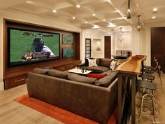 The perfect spot to watch the big game or a movie. This basement has hardwood & 342 best Basements images on Pinterest | Basement Sweet home and ...