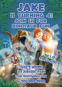 PRINTABLE.. LEGO JURASSIC PARK BIRTHDAY INVITATION. PERSONALIZED WITH CHILDS PARTY INFO.. SIZE 5 INCHES WIDE AND 7 INCHES TALL..