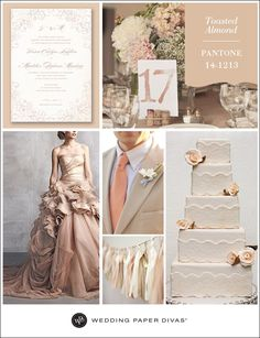 Pantone Toasted Almond Inspiration Board | Wedding Paper Divas Blog Love this soft sophistication color selection.