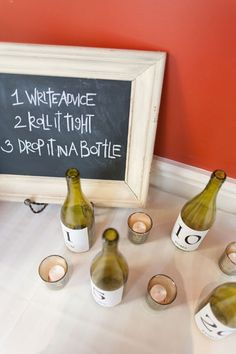 """In theme with the vineyards of the Italian countryside, the couple used empty wine bottles they saved during their engagement period as table numbers, and corks as place cards. """"We also used wine bottles instead of a guest book, and had our guests write advice for one, five, ten, 20, and 25  years of marriage."""