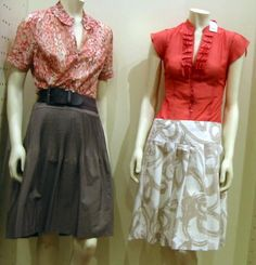 casual skirts with coral tops