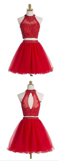 Red Two Pieces Homecoming Dress,Sexy Party Dress,Charming Homecoming Dress,Cheap Homecoming Dress,Homecoming Dress