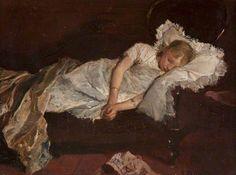 Maris, Jacob, (1837-1899), A Girl Asleep on a Sofa, 1880, Oil