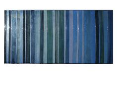 'Blue Levels' - Hand Painted wood strips in high gloss framed in a silver floater frame. #Art from #ZGallerie