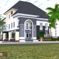 5 Bedroom duplex with pent floor Modern Bungalow House Plans, Duplex Floor Plans, Modern House Facades, House Outside Design, House Front Design, Modern House Design, Architect Design House, Bungalow House Design, House Design Pictures