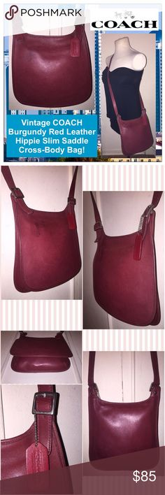 """Vtg COACH Red Leather Hippie Slim Cross-Body Bag! Vintage COACH Burgundy Red Leather Hippie Slim Saddle Cross-Body Bag! 100% authentic classic Coach bag! Features: burgundy red leather, adjustable strap (up to 23"""" body shoulder clearance), nickel silver COACH buckles & hardware, front flap pocket, unlined, zip pocket with ring pull, Coach hang tag, Coach creed & serial No. D0P-9135 on inside. Measurements: 11"""" tall (side), 10"""" tall (mid) x 9 3/4"""" across x 2"""" wide. Some exterior marks. VG…"""