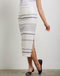 Three Dots Macy Striped Skirt | Spring 2016 Collection