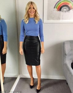 In shape: Holly Willoughby showed off her slim figure in a leather skirt on Monday morning, as she continued to showcase her enviable wardrobe on Instagram