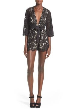 Missguided Lace Plunge V-Neck Romper available at #Nordstrom