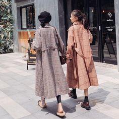 K-pop Fashion Knee Length Plaid Woolen Coat Pop Fashion, Wool Blend, Cardigans, That Look, Plaid, Kpop, Coat, Sleeves, Jackets