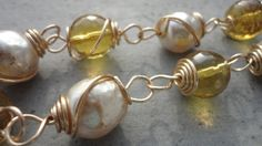 Hand Coiled Fresh Water Pearl and Gold Bracelet by LOVEitAllBoutique
