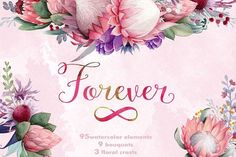 Forever - watercolor flower set Graphics Gentle Australia native flowers watercolor collection for the most soft hearted amongst designers! by Watercolor Nomads Watercolor Drawing, Watercolor And Ink, Watercolor Flowers, Business Illustration, Pencil Illustration, Blog Design, Free Design, Flower Clipart, Creative Sketches