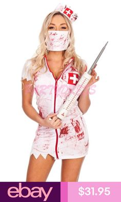 Want to haunt your friends and family? Then you need to buy the Ladies Bloody Zombie Nurse Dress Get fantastic Bloody Nurse outfit with just one click. Zombie Nurse Costume, Badass Halloween Costumes, Sexy Nurse Costume, Doctor Costume, Halloween Fancy Dress, Halloween Outfits, Halloween Parties, Halloween Kleidung, Dresses Australia