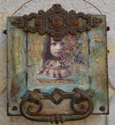 ONE OF A KIND! I have used a Paper Whimsy Image mounted on a vintage bingo card and attached to a 8 x 8 deep edge 1.5 canvas. Vintage hardware