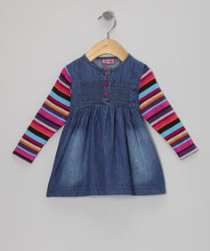Take a look at this Denim Cerise Bette Dress - Infant, Toddler & Girls by Me Too on #zulily today!