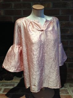 NWT TALBOTS SOFT PASTEL  PINK TOP SZ XL CRUSHED SILK MIX BUBBLE SLEEVE  OCCASION $18.99