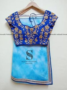 Beautiful blue color designer saree and blouse with flower design hand embroidery gold thread work. call / watsapp :+918179668098 for details 03 October 2017