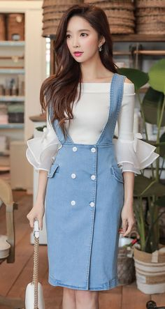 Off-Shoulder Panel-Sleeve Knit Top + Double-Breast Denim Suspender Dress (Dabuw. Off-Shoulder Panel-Sleeve Knit Top + Double-Breast Denim Suspender Dress (Dabuwawa) Knitting Patte Stylish Clothes For Women, Stylish Dresses, Simple Dresses, Stylish Outfits, Cute Dresses, Beautiful Dresses, Casual Dresses, Girly Outfits, Skirt Outfits