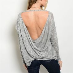 Available! Heather gray Aztec top w/back cut out! Marled heather gray with Aztec design- flattering rounded hemline and back cut out! LAST LARGE! Tops Blouses