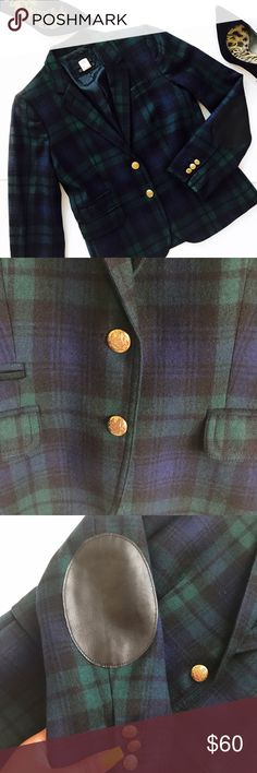 "J. Crew | Schoolboy Blazer in Blackwatch Tartan Plaid Tartan blazer by J. Crew  Features black leather elbow patches Peacock plaid detailing  Gold hardware Faux pockets  100% wool Bust 32"" Sleeve length 24.5"" J. Crew Jackets & Coats Blazers"