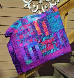PURPLE MAZE      -Kaffe Fassett Collective Designs in Purple, Blue, Magenta and every color in-between combined in this gorgeous quilt
