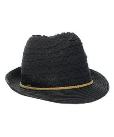 701a7877966 Women s Classic Brim Knit Fedora Vented Cotton Summer Beach Sun Hat Black  CF12I8OCWFH