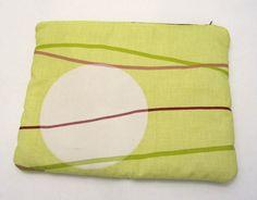 Maxi Makeup bag Acid green and mustard cotton fabric by ShopF4m, $18.00