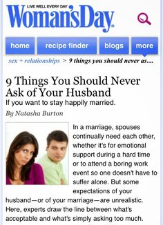 """I was recently featured in an article for Woman's Day magazine online! Check it out. Good info for relationships   Creative Solutions Therapy: Feature in Article for Woman's Day Magazine - """"9 Things You Should Never Ask of Your Husband"""""""