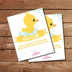 Pink Rubber Duck Baby Shower Diaper Raffle by SunshineParties on #Etsy........so beautiful! #PinkRubberDuckDiaperRaffleCards #RubberDuckBabyShowerDiaperRaffle