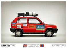 1990 - FIAT PANDA DANCE with long distance kit! this one was on the Mongol Rally - firstcar illustrations