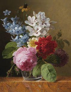 Jan Frans van Dael (Anvers 1764 - 1840 Paris), Bouquet de fleurs dans un verre (Flower bouquet in a glass), 1825. Signé et daté en bas à droite Van dael / 1825. Huile sur panneau, 36,50 x 29 cm ; 14 3/8 by 11 3/8 in.
