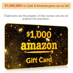 Here's How To Get a $1,000 Amazon Gift Card - WOW! This is a jaw-dropping offer from National Consumer Center. They are giving away a $1,000 Amazon shopping gift card! All you need to do is to enter your email address for a chance to get the $1,000 Amazon gift card. I'm sure you know Amazon is the largest online retailer and has the best customer service. Don't let this opportunity slip you by! Sign up now!