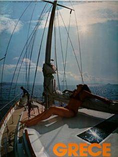 GRECE 1970~1979. Old Posters, Travel Posters, Vintage Posters, Sailing Ships, Boat, Visit Greece, Poster Vintage, Dinghy, Boats