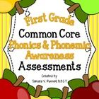 Included in this 108 page download is a series of common core aligned assessments for the first grade phonemic awareness & phonics standards al...